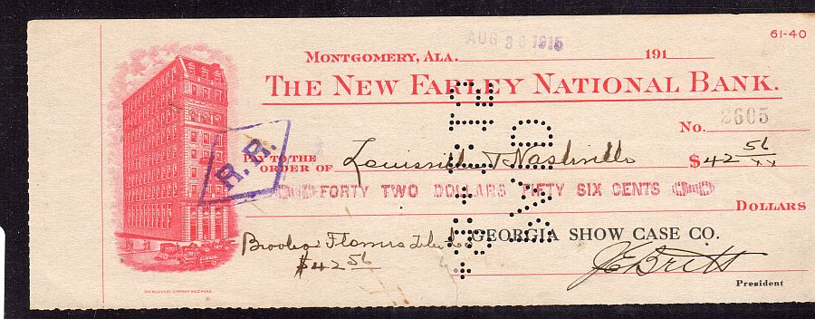 Montgomery, Alabama, New Farley National Bank (Charter #8460) 08/30/1915 $42.56