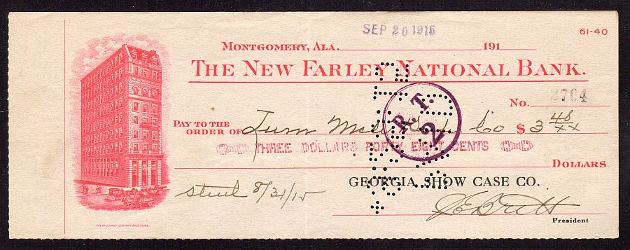 Montgomery, Alabama, New Farley National Bank(Charter #8460) 09/20/1915 $3.48