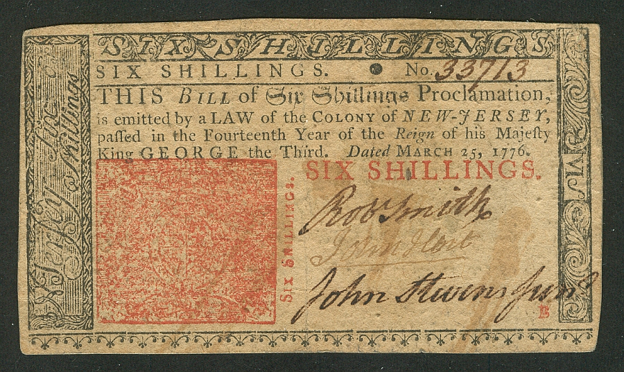 NJ-178 Colonial, 6 Shilling, March 25, 1776 - John Hart Signature, VF/XF, 33713