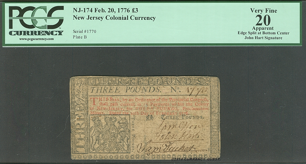 NJ-174, New Jersey Colonial Note, February 20, 1776 3 Pounds, John Hart Signed Note