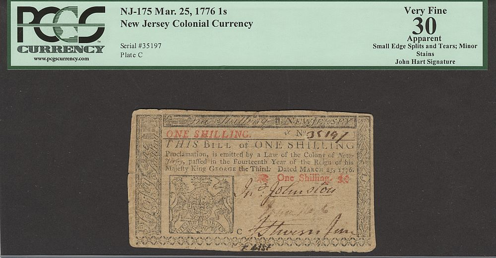 NJ-175 Colonial, 1 Shilling, March 25, 1776 - John Hart Signature, VF+, PCGS-30a, 35197