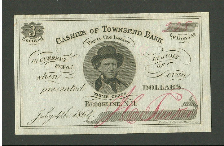 Brookline, NH, Townsend Bank 1864 Three Cent Note, PMG64-EPQ, 228