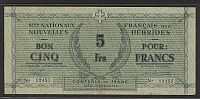 New Hebrides, P-1, (1943) 5 Francs, WWII Emergency Issue, VF/XF 12455