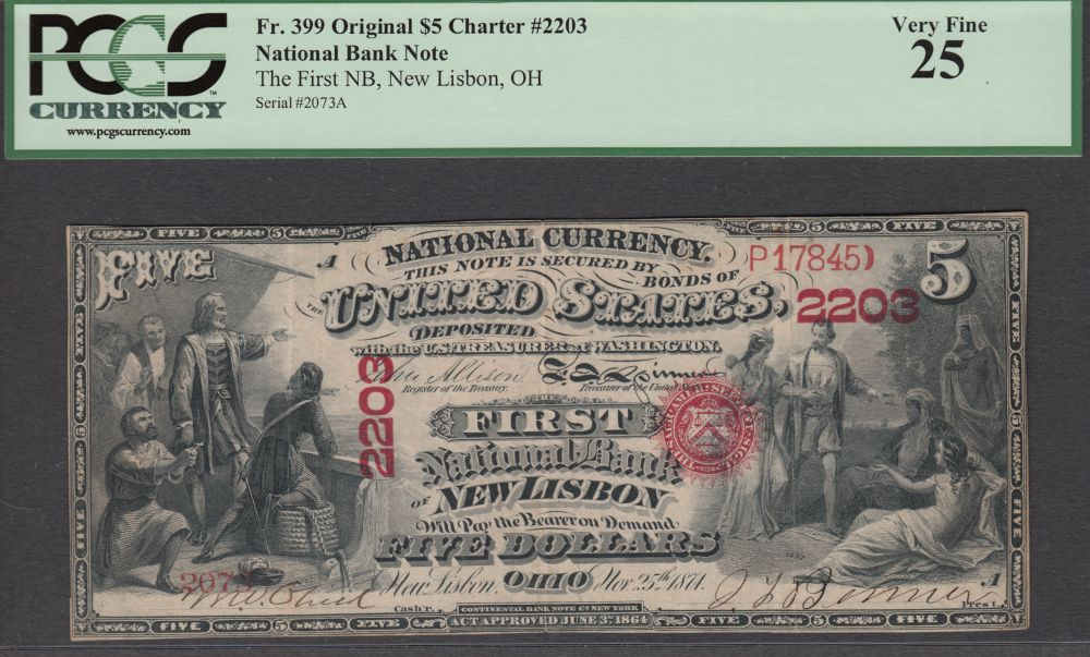 New Lisbon, Ohio, Original First Charter $5, The First National Bank, Ch.#2203, *UNIQUE* Very Fine