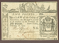 New York Colony 5 Pounds, February 16, 1771