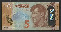 New Zealand, 2015 $5 Reserve Bank of New Zealand