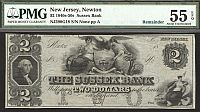 Sussex Bank of Newton, New Jersey, 1840s-50s $2, PMG55-EPQ