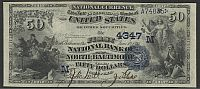 North Baltimore, OH, Ch.#4347, Fr.558, 1882DB $50 The First National Bank of No. Baltimore, Serial No. 4, Very Fine