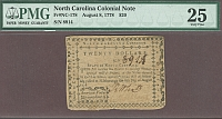 North Carolina Colony $20, August 8, 1778, Very Fine