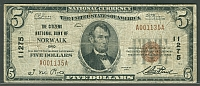 Norwalk, OH, Ch.#11275, 1929T1 $5, The Citizens NB, D001135A, F+