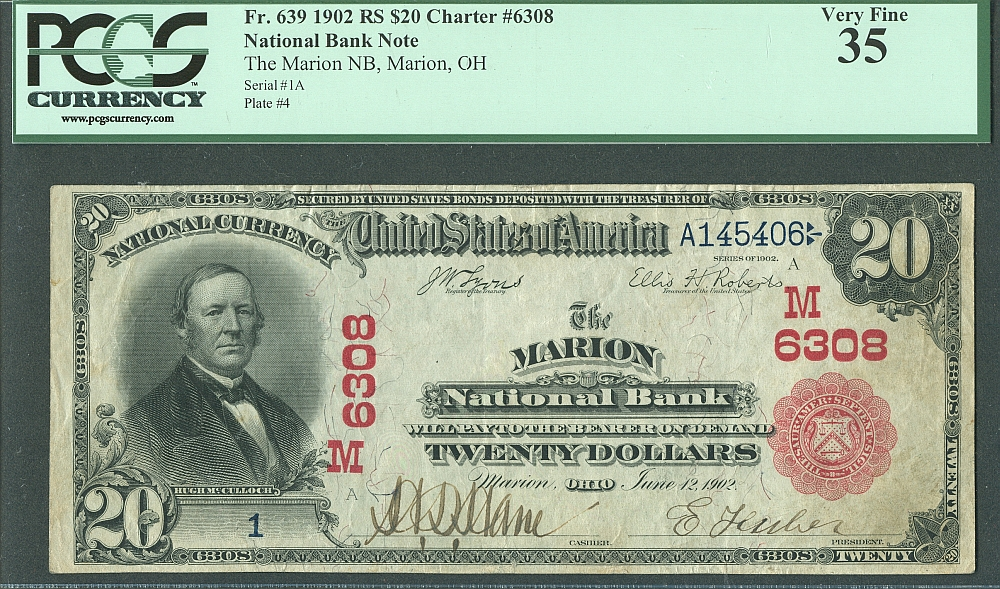 Marion, Ohio, Ch.#6308, Marion NB, 1902 Red Seal $20 Serial Number One