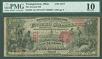 Youngstown, Ohio, Charter 2217, 1875 $5, PMG-10