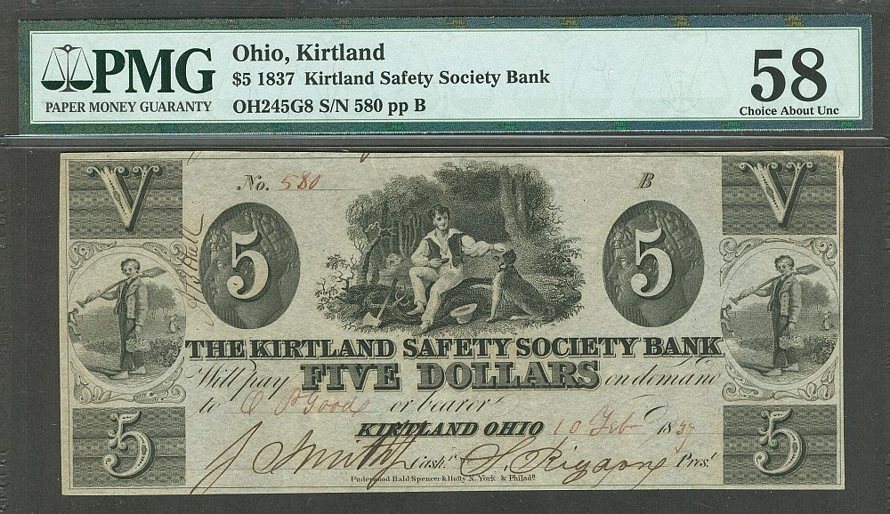 Kirtland, OH, The Kirtland Safety Society Bank $5, February 10, 1837, PMG-58  [Mormon Note]