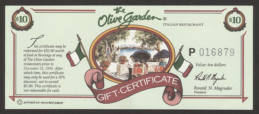 Olive Garden 10 Gift Certificate Circa 1990s