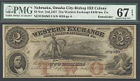 Omaha City, NE - Bishop Hill Colony, 1857 $2 Western Exchange Ins. Co., Superb GemCU, PMG67-EPQ