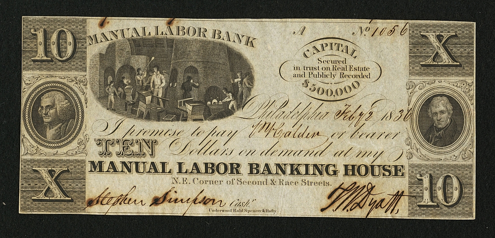 Philadelphia, PA Manual Labor Banking House, 1836 $10
