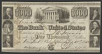 Bank of the United States $1000, Dec. 15, 1840, Philadelphia Issue, NY Redemption, 8804, CU