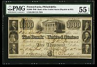 Bank of the United States $1000, Dec. 15, 1840, Philadelphia Issue, NY Redemption, 7955, AU - PMG-55 EPQ