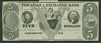 Portsmouth, NH, Pisquataqua Exchange Bank $5 18__ Remainder, PMG64-EPQ