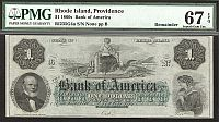 Providence, RI, Bank of America, 1860 $1, Superb Gem, PMG67-EPQ