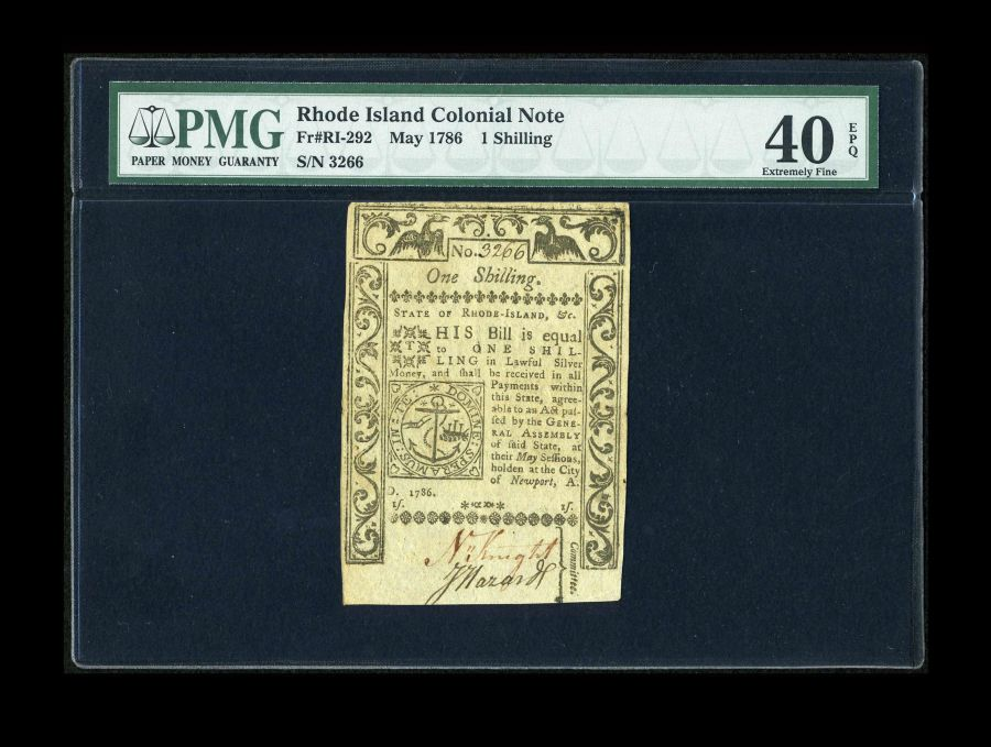 RI-292, Rhode Island One Shilling Colonial Note, May, 1786, Extremely Fine, PMG-40 EPQ, 3266