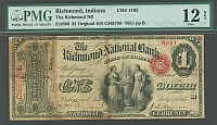 Richmond, IN, Charter #1102, 1865 $1 Original Series, Fine+
