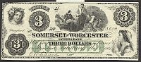 Salisbury, MD 1862 $3, The Somerset and Worcester Savings Bank, ChCU+