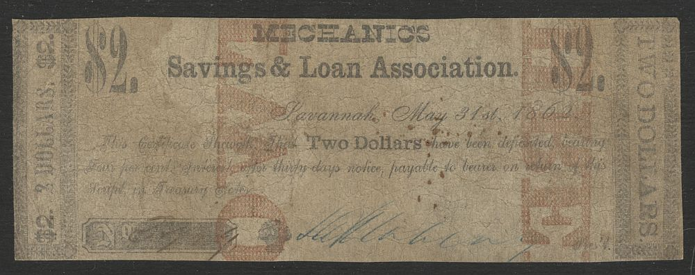 Georgia, Savannah, Mechanics Savings & Loan Association, 1862 $2