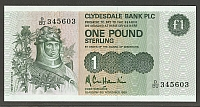 Scotland, P-211d, Clydesdale Bank, 1988 One Pound, GemCU