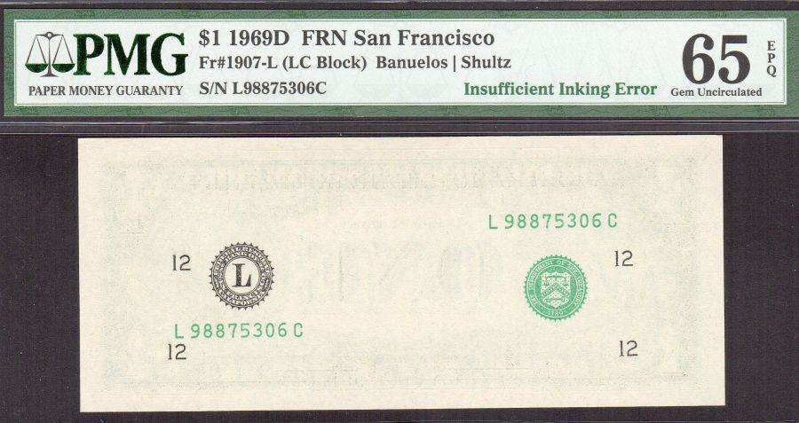 Missing Second Print Error, $1 San Francisco FRN, GemCU, L98875306C, PMG65-EPQ