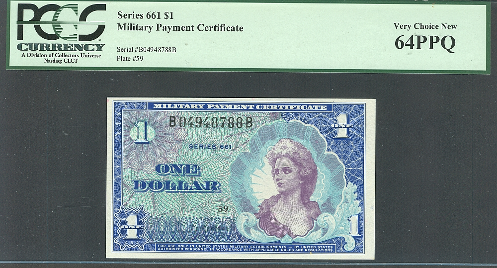 Series 661, $1 MPC, Very Choice New, B04948788B, PCGS-64 PPQ