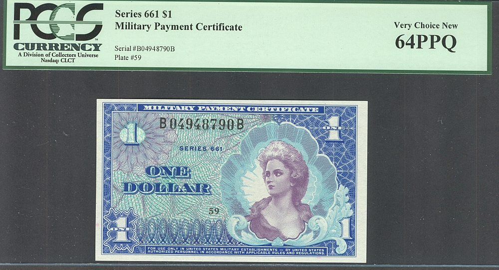 Series 661, $1 MPC, Very Choice New, PCGS-64 PPQ