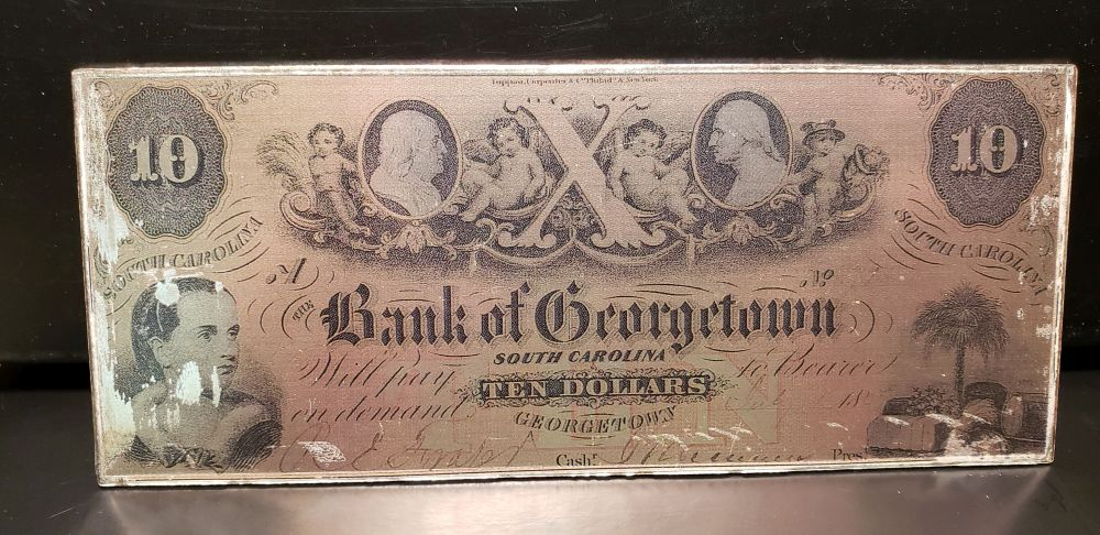"Silver ""America's First Bank Notes"" 4 Oz. .999 Fine Silver Bar, Bank of Georgetown, SC $10"