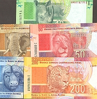 "South Africa, Set of 2012 ""Mandela Notes"", 10-20-50-100 & 200 Rand, GemCU"