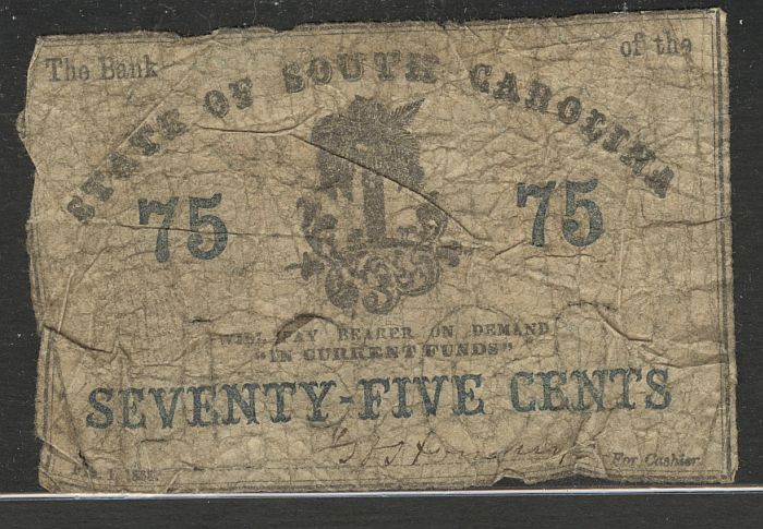 State of South Carolina 75c Bank Note of February 1, 1863