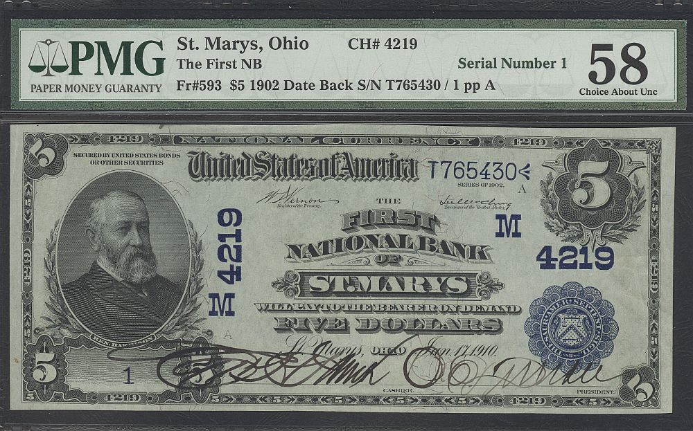 St. Marys, Ohio, Ch.#4219, 1902DB $5, SERIAL NUMBER ONE
