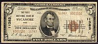 Sycamore, Ohio, 1929T2 $5, Charter #11383, The First National Bank, Fine