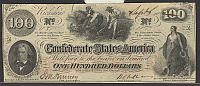 "T-41, 1862 $100 CSA ""Hoer"" Note, Sept. 6, 1862, AU"