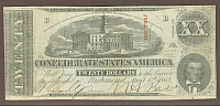 T-58, 1863 $20 Confederate Note, F/VF