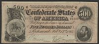 T-64, 1864 $500 Confederate States of America, SN21523, Ch.VF