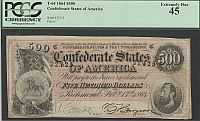 T-64, CR-489, PF-2, 1864 $500 Confederate States of America, SN22725, Ch.XF, PCGS-45