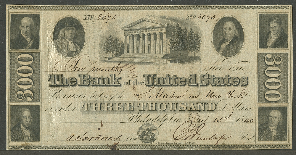 Missouri Bill Of Sale >> Third Bank of the United States Dec. 15th 1840 $3000 Serial No. 8075