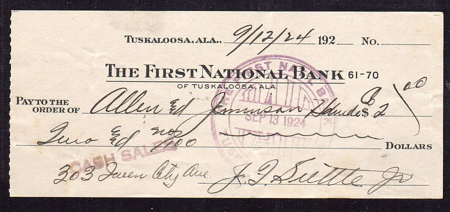 Tuskaloosa, Alabama, First National Bank 09/12/1924 $2.