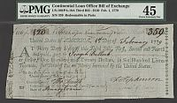 Francis Hopkinson-Signed Continental Loan Office Third Bill of Exchange, Feb. 1, 1779 $120, Serial #359, ChXF, PMG-45