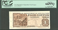 USDA Food Coupon, Series 1996B $1, GemCU, PCGS66-PPQ