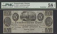 Pennsylvania, Warren, Lumbermans Bank, 18__ Remainder, $5, vChAU, PMG58-EPQ