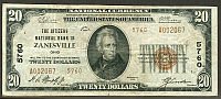 Zanesville, OH, Ch.#5760, Citizens National, 1929T2 $20, A002067, VF