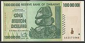 2008 Reserve Bank of Zimbabwe $1,000,000,000 Note (One Billion Dollars), GemCU
