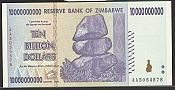 2008 Reserve Bank of Zimbabwe $10,000,000,000 Note (Ten Billion Dollars), GemCU