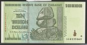 2008 Reserve Bank of Zimbabwe $10,000,000,000,000 Note (Ten Trillion Dollars), GemCU